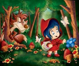 Puzzle Le Petit Chaperon rouge dans la forêt avec le loup caché parmi les arbres