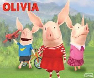 Puzzle Le petit cochon Olivia avec ses frères William et Ian