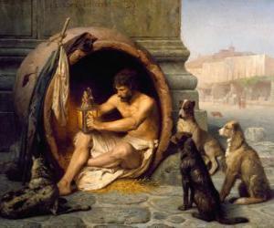 Puzzle Le philosophe grec Diogène de Sinope, dans son tonneau, dans les rues d'Athènes