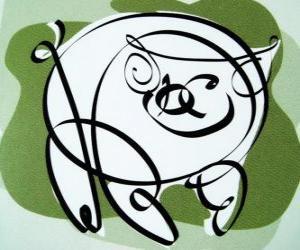 Puzzle Le porc, signe de Porc, l'année du Porc en astrologie chinoise. Le dernier des douze animaux du zodiaque chinois
