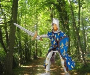 Puzzle Le prince brave et charmant avec son bouclier et l'épée