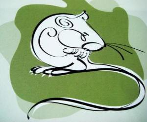 Puzzle Le rat, le signe du Rat, l'Année du Rat. Le premier signe des douze animaux du horoscope chinois