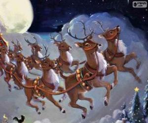 Puzzle Le renne magique tirant le traîneau