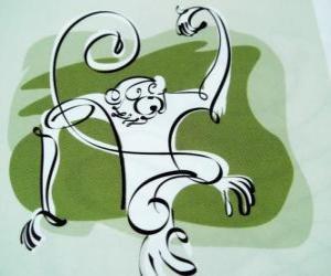 Puzzle Le singe, signe du Singe, l'année du Singe dans l'astrologie chinoise. Le neuvième des douze animaux du cycle de 12 ans du zodiaque chinois