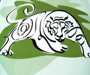 Puzzle Le tigre, le signe du tigre, l'année du Tigre. Le troisième signe des douze animaux du zodiaque chinois