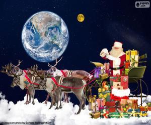 Puzzle Le traîneau du père Noël au-dessus des nuages