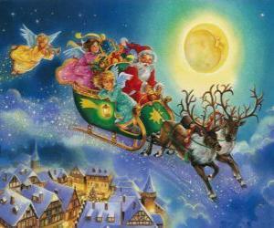 Puzzle Le traîneau de Santa Claus volant au-dessus des maisons au cours de la veille de Noël