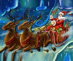 Puzzle Le traîneau rempli de cadeaux de vol avec le Père Noël et les rennes magiques