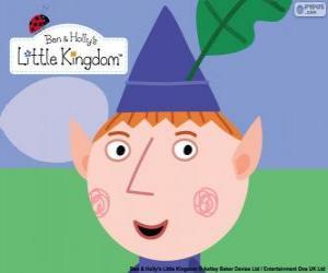 Puzzle Le visage de l'elfe Ben et son chapeau triangulaire avec la feuille de chêne