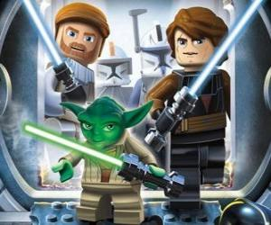 Puzzle Lego Star Wars: Yoda, Luke Skywalker, Obi-Wan Kenobi