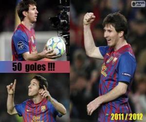 Puzzle Leo Messi, meilleur buteur de l'histoire de la ligue espagnole, 2011-2012