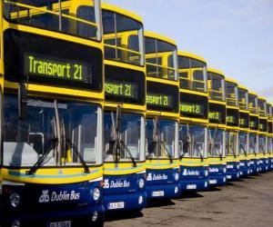 Puzzle Les bus de Dublin dans le parking