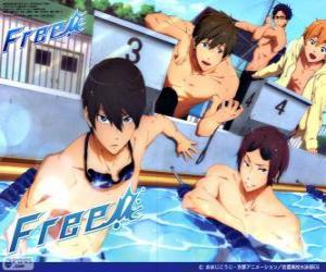 Puzzle Les cinq protagonistes de Free ! Rin, Haruka, Nagisa, Rei et Makoto