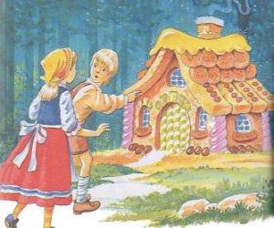 Puzzle Les deux frères Hansel et Gretel de découvrir une maison de bonbons délicieux