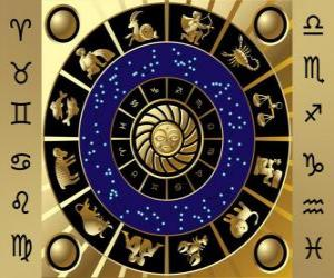 Puzzle Les douze signes du zodiaque, Roue de zodiaque ou Cercle du Zodiaque