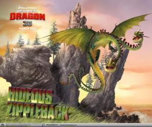 Puzzle Les dragons Hideux Braguettaure à provoquer des explosions, tandis qu'une tête émet du gaz, le autre l'accendere