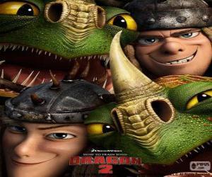 Puzzle Les frères jumeaux, Kognedur et Kranedur Thorston avec leurs dragons