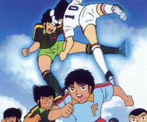 Puzzle Les joueurs de football dans un match de Captain Tsubasa