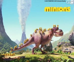Puzzle Les Minions avec le dinosaure