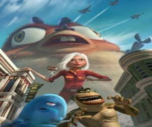 Puzzle Les monstres sont les héros - Génormica, Dr. Cafard, B.O.B, le Maillont Manquant et Insectosaure