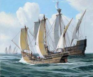 Puzzle Les navires du premier voyage de Christophe Colomb fut le navire Santa Maria, et les caravelles, la Pinta et la Nina