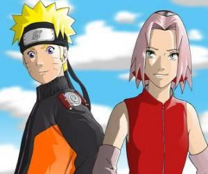 Puzzle Les principaux personnages Naruto Uzumaki et Sakura Haruno sourire
