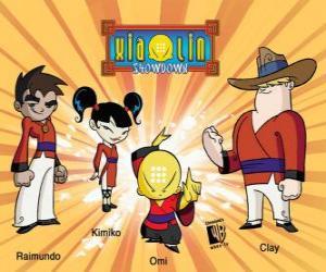 Puzzle Les quatre guerriers Xiaolin: Raimundo, Kimiko, Omi et Clay