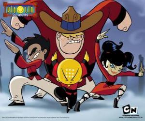 Puzzle Les quatre jeunes moines, protagonistes de Xiaolin Showdown
