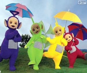 Puzzle Les quatre Teletubbies avec leurs parapluies ouverts