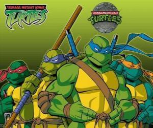 Puzzle Les quatre Tortues Ninja: Leonardo, Michelangelo, Donatello et Raphaël. Les Tortues ninja ou TMNT
