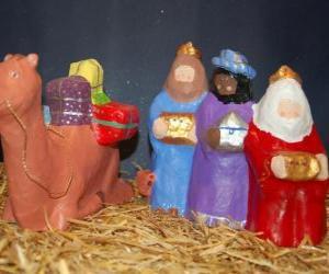 Puzzle Les Rois Mages Gaspard, Melchior et Balthazar avec leurs cadeaux
