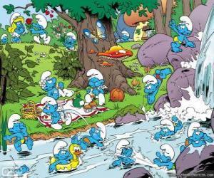 Puzzle Les Schtroumpfs dans la rivière