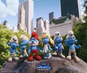 Puzzle Les Schtroumpfs dans le parc central de New York - Les Schtroumpfs, film -