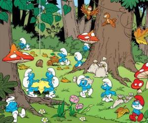Puzzle Les Schtroumpfs travaillent dans la forêt, la collecte de nourriture