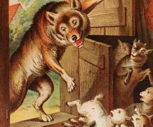 Puzzle Les sept petits enfants ont peur et courir et se cacher quand ils voient le loup à la porte