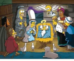 Puzzle Les Simpson dans la crèche