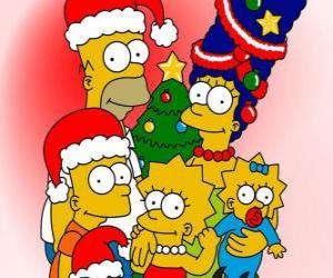 Puzzle Les Simpsons en vous souhaitant un Joyeux Noël