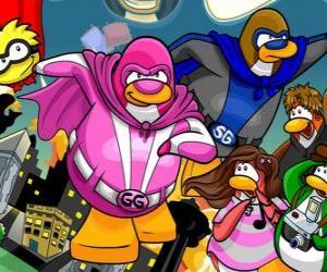 Puzzle Les super-héros pingouins du Club Penguin