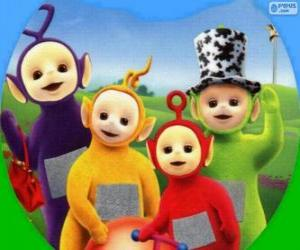 Puzzle Les Télétubbies : Tinky Winky, Laa-Laa, Po et Dipsy