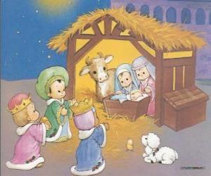 Puzzle Les Trois Rois d'Orient offrint leurs dons, de l'or, l'encens et la myrrhe, l'Enfant Jésus