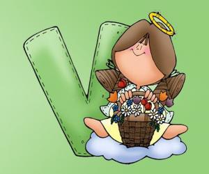 Puzzle Lettre V avec un ange