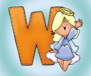 Puzzle Lettre W avec un ange