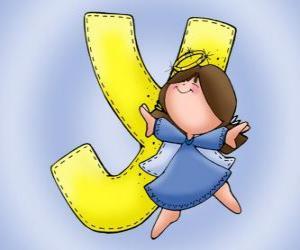 Puzzle Lettre Y avec un ange