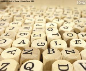 Puzzle Lettres en bois de cube