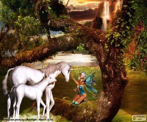 Puzzle Licornes et fée