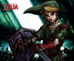 Puzzle Lien avec l'épée et un bouclier dans les aventures du jeu vidéo The Legend of Zelda
