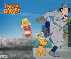 Puzzle L'Inspecteur Gadget avec sa nièce Sophie et son chien Fino