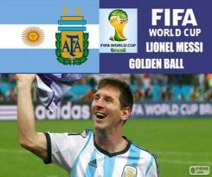 Puzzle Lionel Messi, ballon d'or. Coupe du monde de Football Brésil 2014