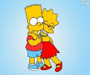 Puzzle Lisa et Bart embrassé comme de bons frères