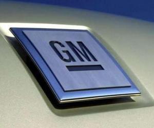Puzzle Logo de GM ou General Motors. Marque de voitures des États-Unis